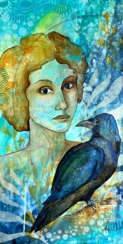 seaside portrait of woman with crow